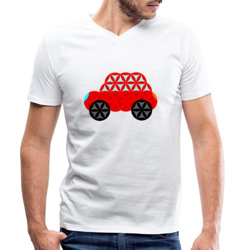 The Car Of Life - M01, Sacred Shapes, Red/R01. - Men's Organic V-Neck T-Shirt by Stanley & Stella