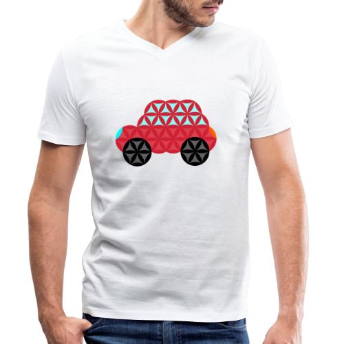 The Car Of Life - M02, Sacred Shapes, Red/186 - Men's Organic V-Neck T-Shirt by Stanley & Stella