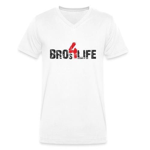 bros 4 life - black-red - Männer Bio-T-Shirt mit V-Ausschnitt von Stanley & Stella
