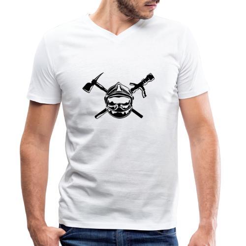 casque_pompier_hache et lance - T-shirt bio col V Stanley & Stella Homme