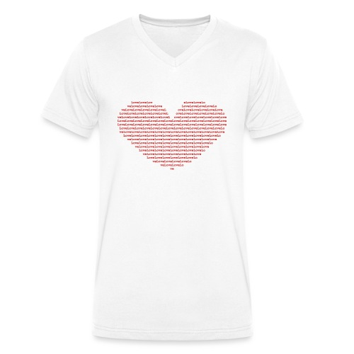 Isle of red Ascii Heart - Men's Organic V-Neck T-Shirt by Stanley & Stella