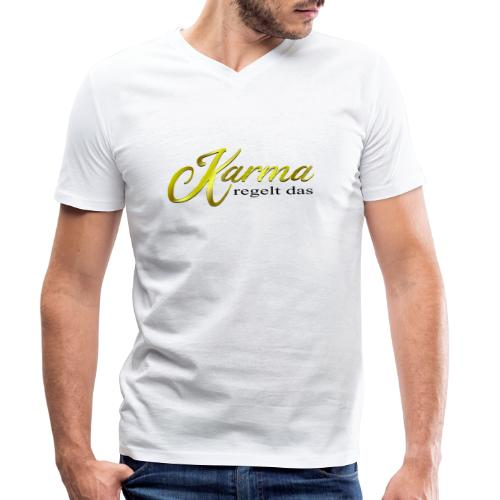 Karma regelt das Gold - Männer Bio-T-Shirt mit V-Ausschnitt von Stanley & Stella