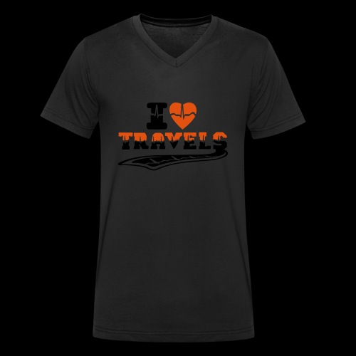 i love travels surprises 2 col - Men's Organic V-Neck T-Shirt by Stanley & Stella