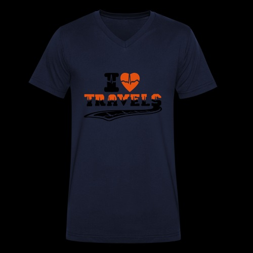 i love travels surprises 2 col - Men's Organic V-Neck T-Shirt by Stanley & Stella
