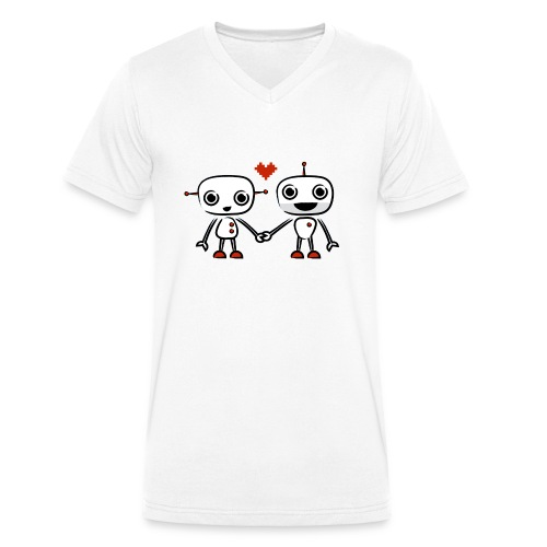 binary love red heart - Men's Organic V-Neck T-Shirt by Stanley & Stella