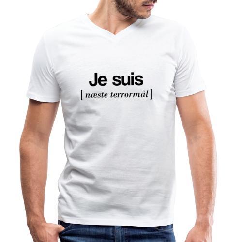 Je suis (sort skrift) - Økologisk Stanley & Stella T-shirt med V-udskæring til herrer