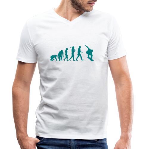 evolution_of_snowboarding - Mannen bio T-shirt met V-hals van Stanley & Stella