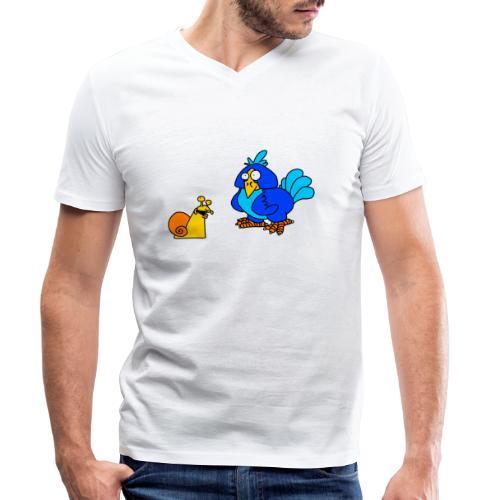 Schnecke und Vogel von dodocomics - Männer Bio-T-Shirt mit V-Ausschnitt von Stanley & Stella