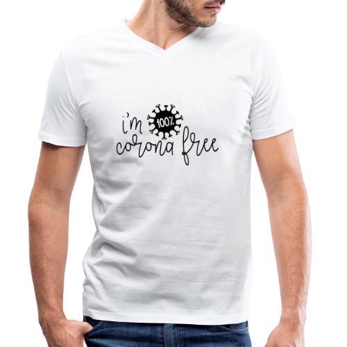 Ik ben coronavirus vrij. Stop de coronavirus - Mannen bio T-shirt met V-hals van Stanley & Stella