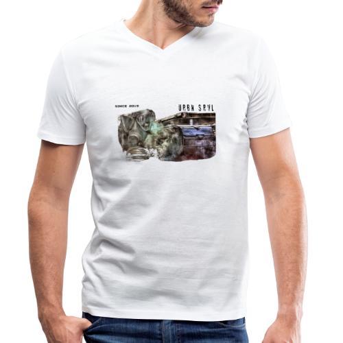 gas mask 2 black - Männer Bio-T-Shirt mit V-Ausschnitt von Stanley & Stella