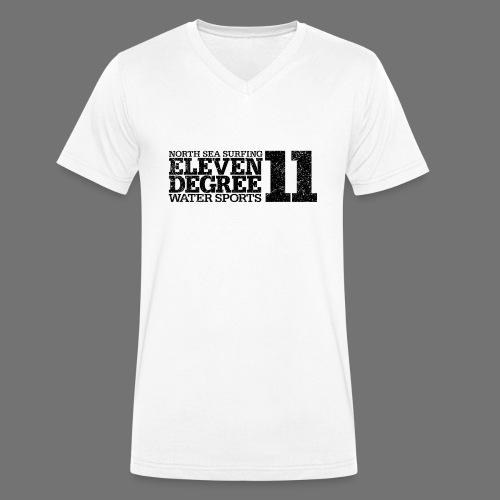 jedenaście stopni czarny (oldstyle) - Ekologiczna koszulka męska z dekoltem w serek Stanley & Stella
