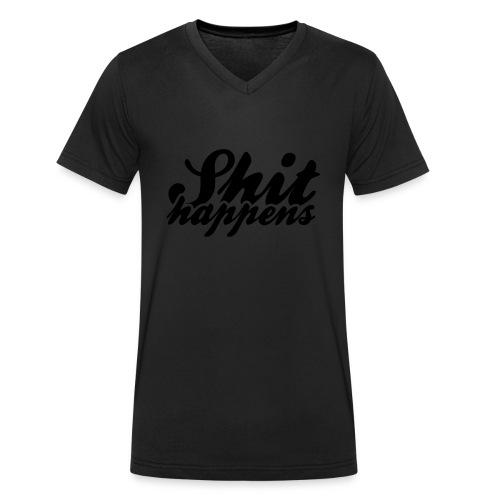 Shit Happens and Politics - Men's Organic V-Neck T-Shirt by Stanley & Stella