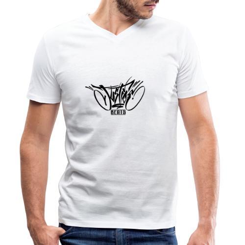 JusticeBeats BLACK - Økologisk T-skjorte med V-hals for menn fra Stanley & Stella