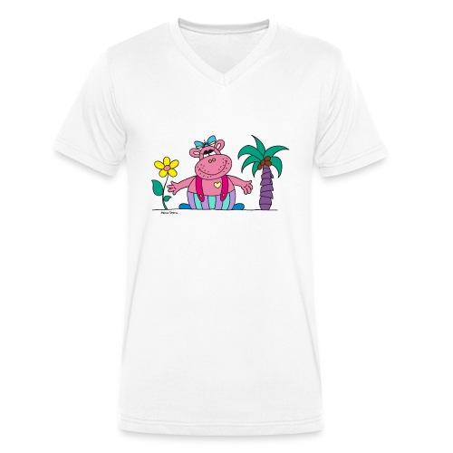 lustiges Nilpferd Sonnenblume Palme Hippo - Men's Organic V-Neck T-Shirt by Stanley & Stella