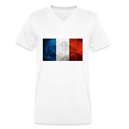 France Flag - Men's Organic V-Neck T-Shirt by Stanley & Stella