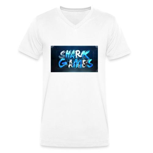 SharkGames - T-shirt ecologica da uomo con scollo a V di Stanley & Stella