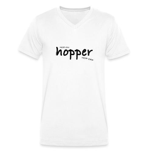 MuchoHop Hop On/Off (black) - Camiseta ecológica hombre con cuello de pico de Stanley & Stella