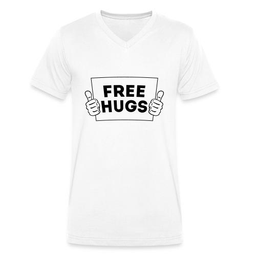 FREE HUGS! Daumen Hoch / Like Schild 1C - Männer Bio-T-Shirt mit V-Ausschnitt von Stanley & Stella
