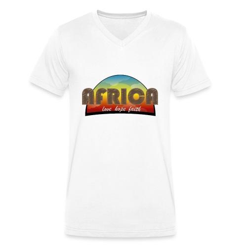 Africa_love_hope_and_faith2 - T-shirt ecologica da uomo con scollo a V di Stanley & Stella