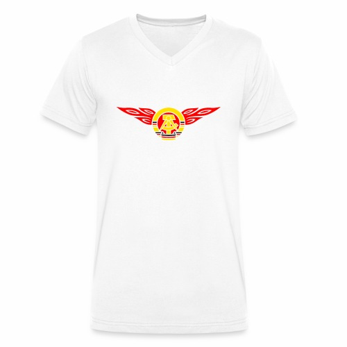 GDR flames crest 3c - Men's Organic V-Neck T-Shirt by Stanley & Stella