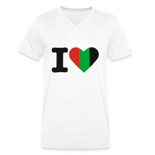 hartjeroodzwartgroen - Mannen bio T-shirt met V-hals van Stanley & Stella