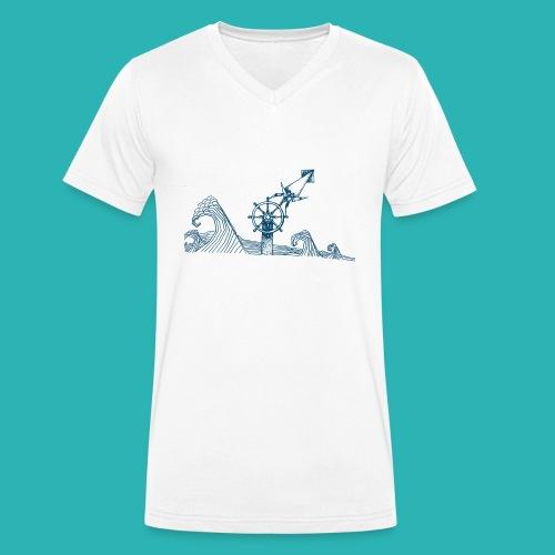 Carta_timone_blu-png - T-shirt ecologica da uomo con scollo a V di Stanley & Stella