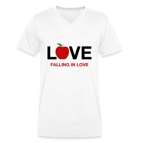 Falling in Love - Black - Men's Organic V-Neck T-Shirt by Stanley & Stella