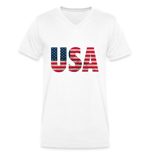 USA Amerika Stars and Stripes Used Look - Men's Organic V-Neck T-Shirt by Stanley & Stella