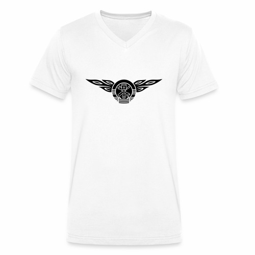 Car flames crest 1c - Men's Organic V-Neck T-Shirt by Stanley & Stella