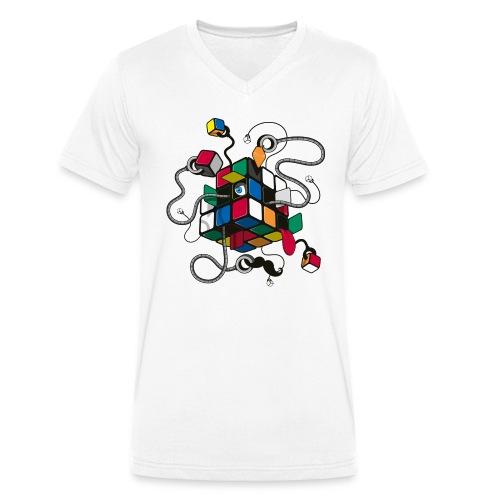 Rubik's Cube Robot Style - Men's Organic V-Neck T-Shirt by Stanley & Stella