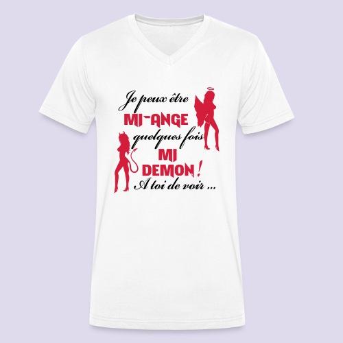 Mi-ange Mi-demon - Men's Organic V-Neck T-Shirt by Stanley & Stella