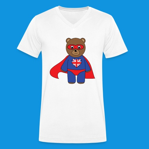 British Hero Bear tank - Men's Organic V-Neck T-Shirt by Stanley & Stella