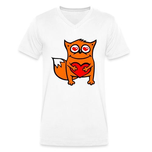 verliebter Fuchs - Herz rot T-Shirts - Männer Bio-T-Shirt mit V-Ausschnitt von Stanley & Stella