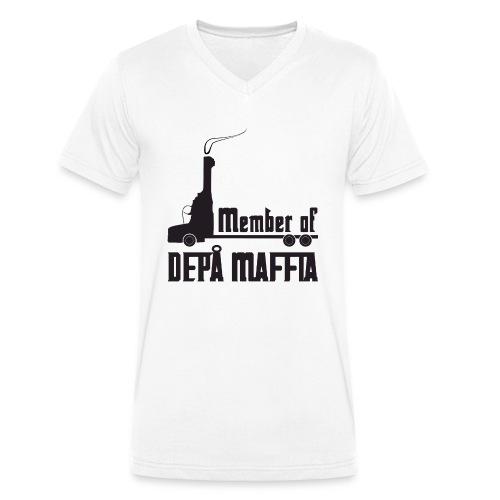 Depå Maffia svart tryck - Ekologisk T-shirt med V-ringning herr från Stanley & Stella