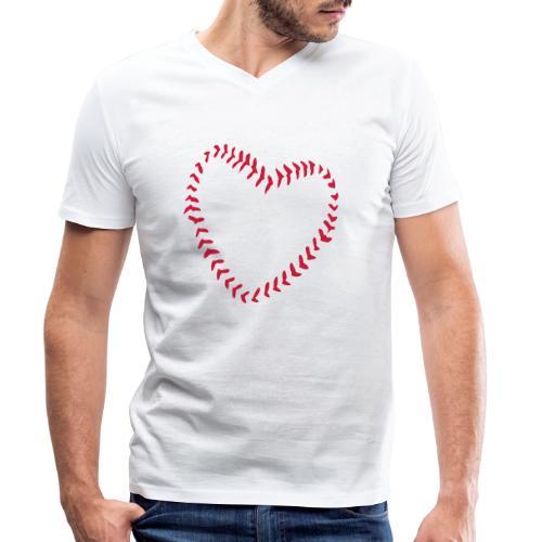 2581172 1029128891 Baseball Heart Of Seams - Men's Organic V-Neck T-Shirt by Stanley & Stella