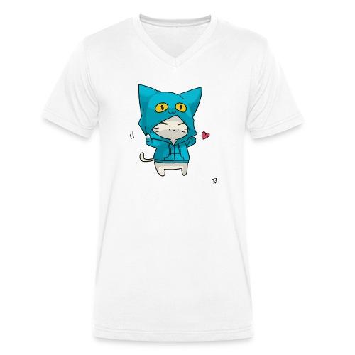 Gato con traje azul - Camiseta ecológica hombre con cuello de pico de Stanley & Stella
