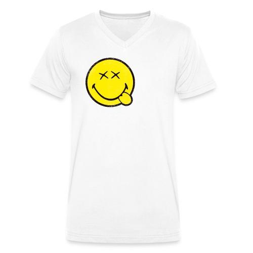 SmileyWorld Klassischer Smiley Used Look - Männer Bio-T-Shirt mit V-Ausschnitt von Stanley & Stella