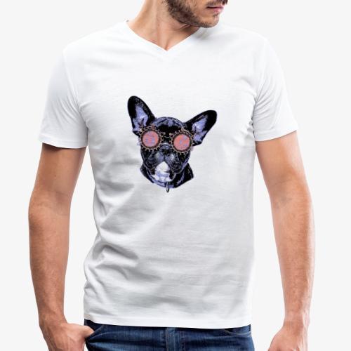 Frenchie Popart - Männer Bio-T-Shirt mit V-Ausschnitt von Stanley & Stella
