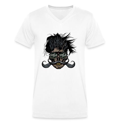hipster skull tete de mort crane barbu moustache - T-shirt bio col V Stanley & Stella Homme