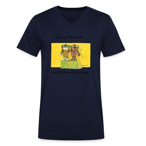 Janoschs 'Wir sind Freunde, und teilen ...' - Männer Bio-T-Shirt mit V-Ausschnitt von Stanley & Stella