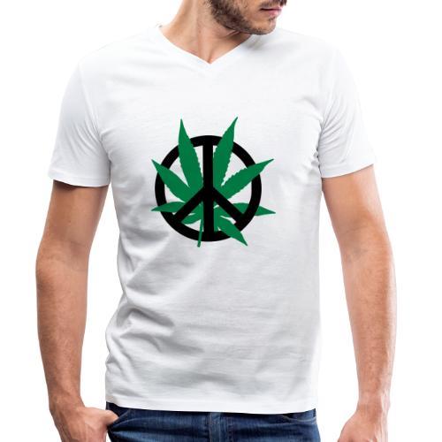 cannabis_peace - Männer Bio-T-Shirt mit V-Ausschnitt von Stanley & Stella