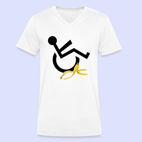Rolstoel gebruiker glijdt uit over banaan - Mannen bio T-shirt met V-hals van Stanley & Stella