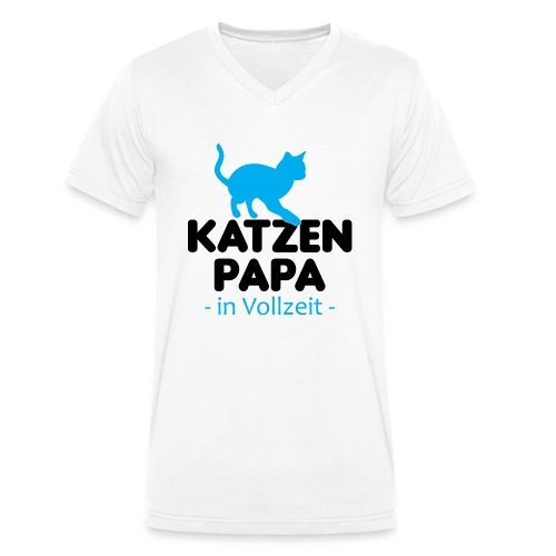 Katze Mann Geschenk Papa Vollzeit Katzenliebhaber - Männer Bio-T-Shirt mit V-Ausschnitt von Stanley & Stella