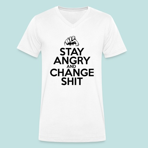 Stay Angry - Men's Organic V-Neck T-Shirt by Stanley & Stella