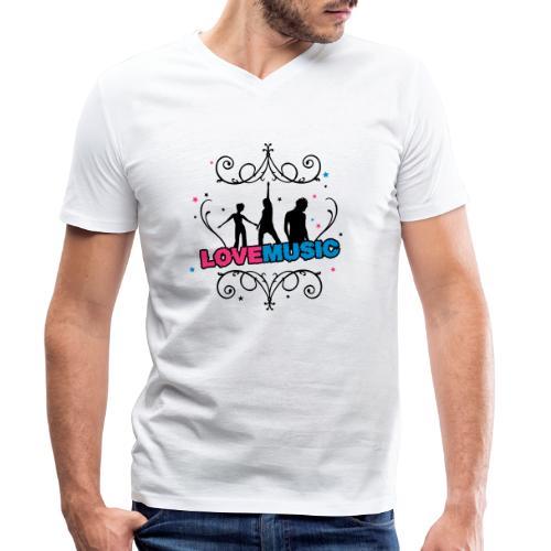 Motif Love Music - T-shirt bio col V Stanley & Stella Homme