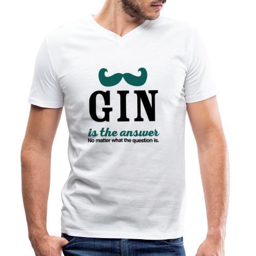 GIN. Die Antwort ist klar - Männer Bio-T-Shirt mit V-Ausschnitt von Stanley & Stella