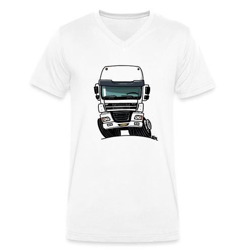 0810 D truck CF wit - Mannen bio T-shirt met V-hals van Stanley & Stella