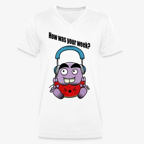 Melon Doodle - Men's Organic V-Neck T-Shirt by Stanley & Stella