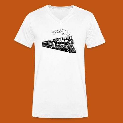 Lokomotive / Locomotive 02_schwarz - Männer Bio-T-Shirt mit V-Ausschnitt von Stanley & Stella