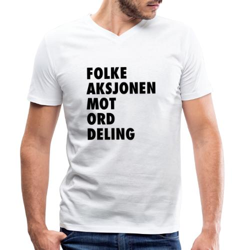 Folke aksjonen mot ord deling - Økologisk T-skjorte med V-hals for menn fra Stanley & Stella